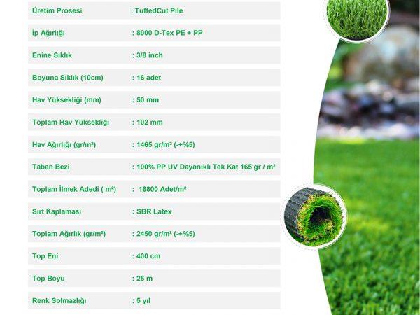 50mm çim halı teknik özellikler